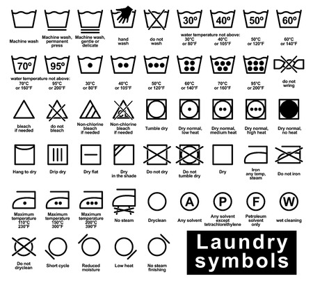 Illustrazione per Icon set of laundry symbols, vector illustration - Immagini Royalty Free