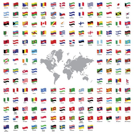Illustration pour all official country flags and world map - image libre de droit