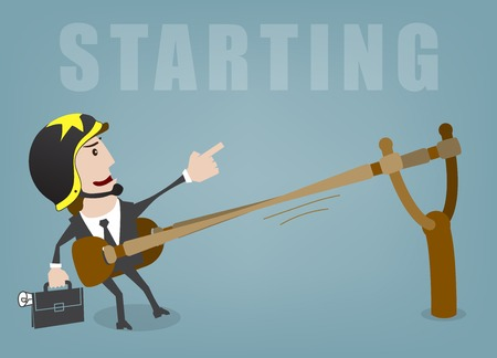 Illustration for Business man start up success vector illustration - Royalty Free Image