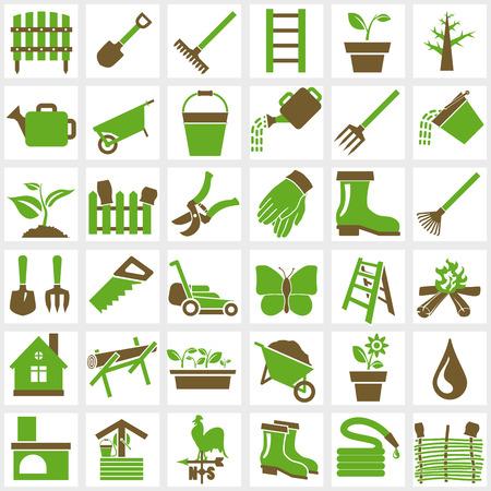 Illustration pour Vector green garden icons set on white - image libre de droit