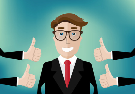 Illustration pour smiling businessman and several hands with thumbs up - image libre de droit