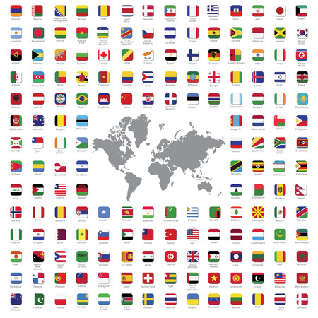 Illustration pour World flags all vector color official isolated - image libre de droit
