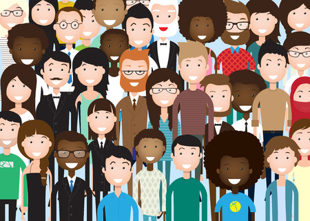 Illustrazione per Group of Business People Big Crowd Businesspeople Mix Ethnic Diverse Flat Illustration - Immagini Royalty Free