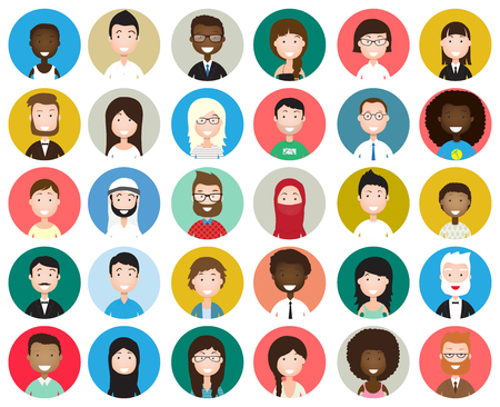 Ilustración de Set of diverse round avatars isolated on white background. Different nationalities, clothes and hair styles. Cute and simple flat cartoon style - Imagen libre de derechos