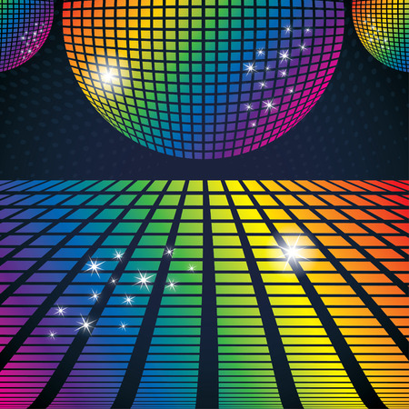 Illustration pour Vector illustration of abstract party background with disco ball - image libre de droit