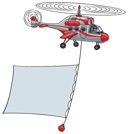 Illustration pour Helicopter with banner  - image libre de droit