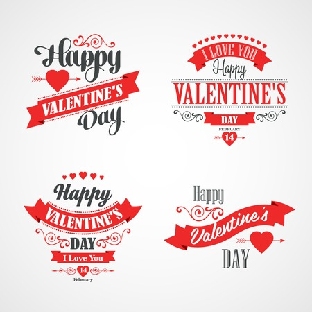 Happy Valentines Day Lettering Card. Typographic Background With Ornaments, Hearts, Ribbon and Arrow