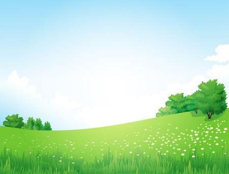 Illustration pour Vector Green Landscape with trees clouds flowers - image libre de droit