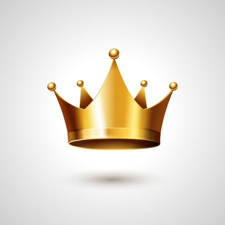 Illustration for Gold Crown Isolated On White Background. Vector Illustration - Royalty Free Image