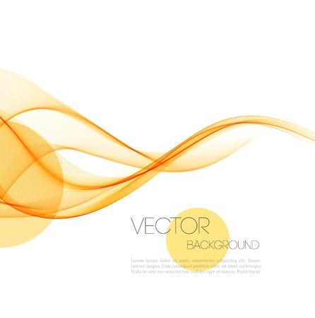 Ilustración de Vector Abstract orange curved smoky lines background. Brochure design - Imagen libre de derechos