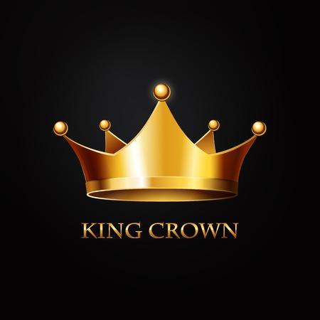 Illustration for Gold Crown on black  Background. Vector Illustration - Royalty Free Image