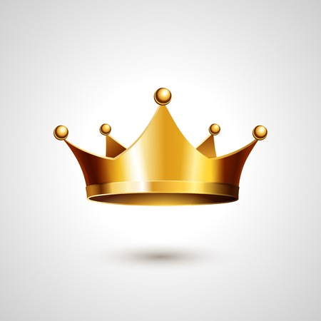 Photo for Gold Crown Isolated On White Background. Vector Illustration - Royalty Free Image