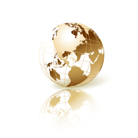 Ilustración de Golden transparent globe isolated in white background. Vector icon. - Imagen libre de derechos
