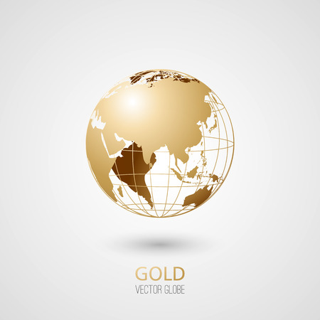 Illustration for Golden transparent globe isolated in white background. Vector icon. - Royalty Free Image