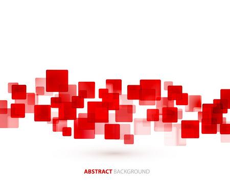 Illustration pour Red transparent squares shapes technical background. Vector technology design - image libre de droit