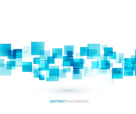 Illustration pour Blue shiny squares shapes technical background. Vector technology design - image libre de droit