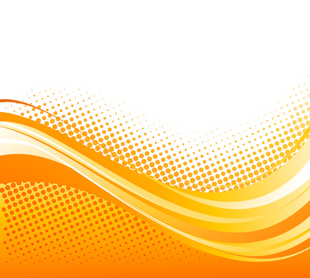 Ilustración de Abstract orange color curved lines background with halftone.  - Imagen libre de derechos