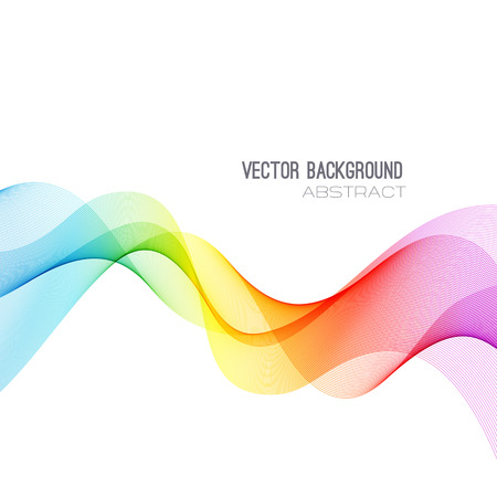 Ilustración de Vector Abstract spectrum curved lines background. Brochure design. Colorful wave - Imagen libre de derechos