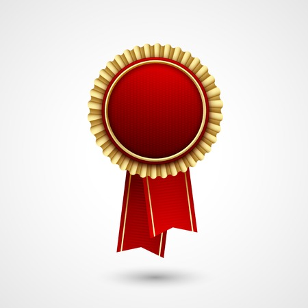 Illustration for Red Color vector award  badge and ribbon. Premium quality. Best price, choice. - Royalty Free Image