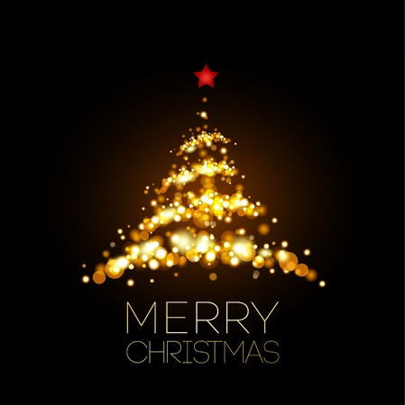 Illustration pour Shiny Gold Christmas tree  in black poster . Vector illustration. - image libre de droit
