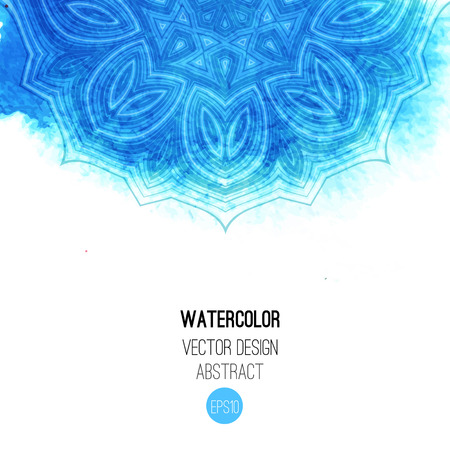 Blue watercolor brush wash with pattern - round tribal elements. Vector ethnic design in boho style.