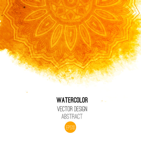 Illustration for Orange watercolor brush wash with pattern - round tribal elements. Vector ethnic design in boho style. - Royalty Free Image