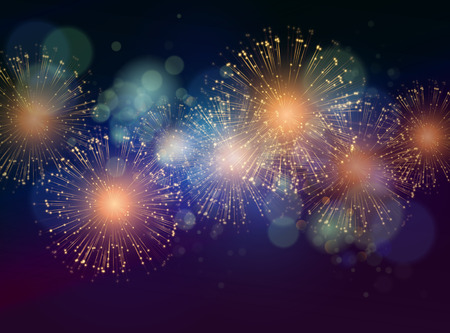 Illustration for Vector Holiday Fireworks Background. Happy New Year 2016 - Royalty Free Image