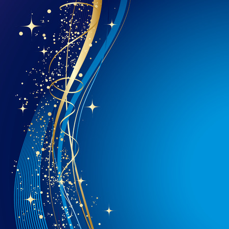Illustration pour Blue winter abstract background. Christmas background with gold wave. Vector. - image libre de droit