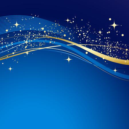 Ilustración de Blue winter abstract background. Christmas background with gold wave. Vector. - Imagen libre de derechos