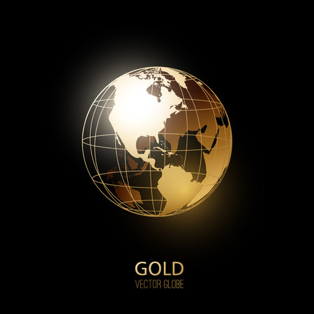 Ilustración de Golden transparent globe isolated on black background. Vector icon. - Imagen libre de derechos