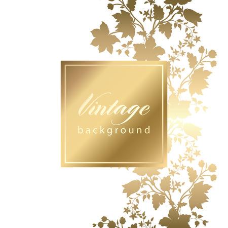Ilustración de Vector vintage white invitation  card with gold floral pattern  EPS 10 - Imagen libre de derechos
