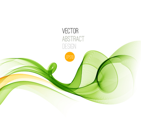 Illustration for Vector Abstract  Green curved lines background. Template brochure design. - Royalty Free Image