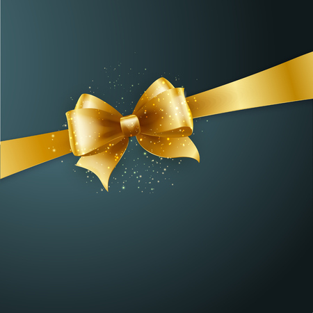 Illustration pour Christmas Background. Vector Design. Gold bow in  gray background - image libre de droit