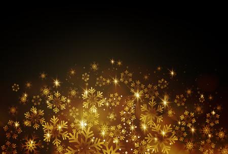 Ilustración de Golden snowflake on a dark background. Vector illustration - Imagen libre de derechos