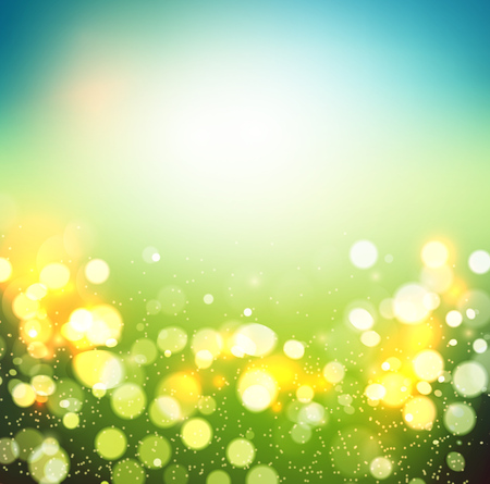 Abstract spring defocused background. Green bokeh. Summer blurred meadow. illustration