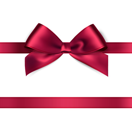 Illustration pour Shiny red satin ribbon on white background. Vector - image libre de droit