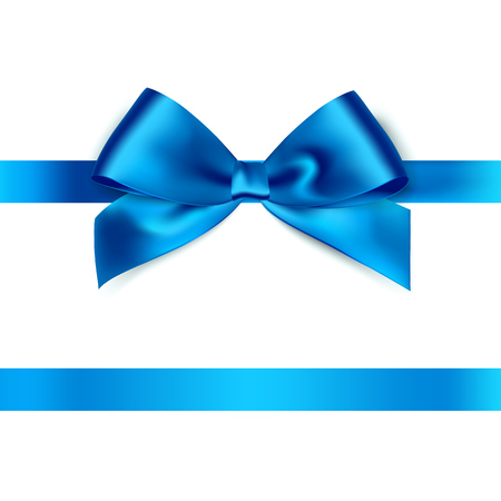 Illustration pour Shiny blue satin ribbon on white background. Vector - image libre de droit