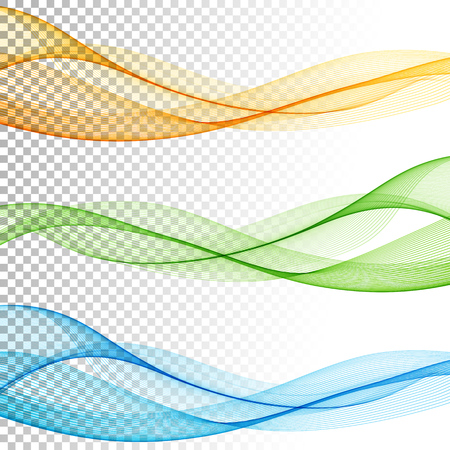Ilustración de Abstract smooth color wave vector set on transparent background. Curve flow motion illustration - Imagen libre de derechos