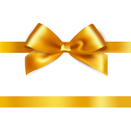 Illustration pour Shiny gold satin ribbon on white background. Vector - image libre de droit