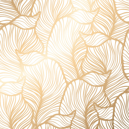 Illustration pour Damask seamless floral pattern. Royal wallpaper. Vector illustration. EPS 10. Gold leaf background - image libre de droit