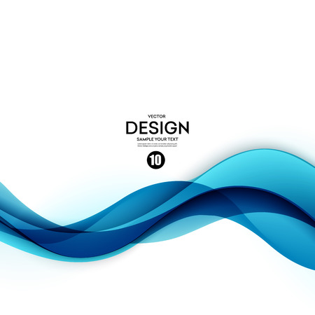Ilustración de Abstract vector background, blue waved lines for brochure, website, flyer design.  illustration eps10 - Imagen libre de derechos