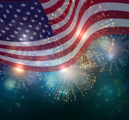Illustration for United States flag. Fireworks background for USA Independence Day. Fourth of July celebrate - Royalty Free Image