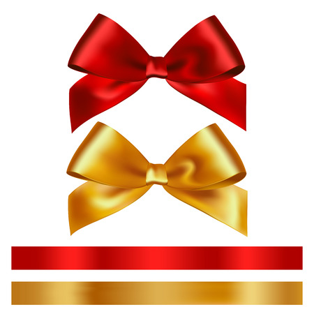 Illustration pour Shiny red and gold satin ribbon on white background. Vector - image libre de droit
