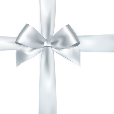 Illustration pour Shiny white satin ribbon on white background. Vector silver bow and ribbon - image libre de droit