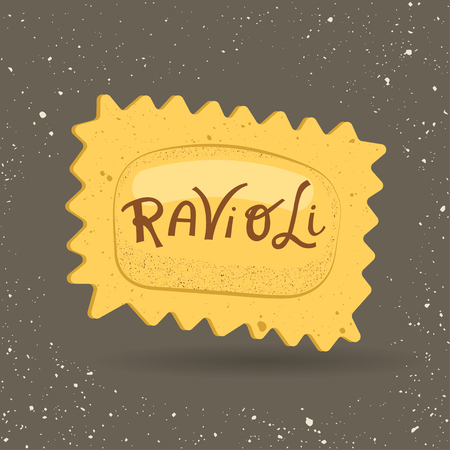 Illustration for Vector illustration of pasta. Ravioli with lettering on a gray background. For trendy packaging, advertising, menu design. - Royalty Free Image