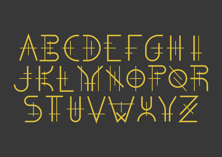 Illustration for Modern uppercase geometric font in medieval style. Golden letters on black background. For music album covers, titles, posters of historical films. - Royalty Free Image