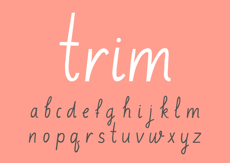 Illustration pour Vector handwritten lowercase alphabet on pink background. - image libre de droit