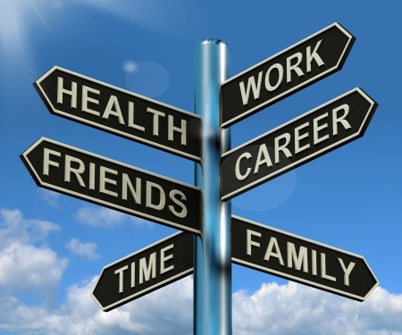 Photo for Health Work Career Friends Signpost Shows Life And Lifestyle Balance - Royalty Free Image