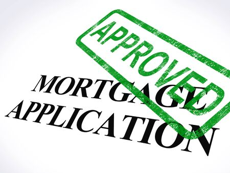 Photo pour Mortgage Application Approved Stamp Showing Home Loan Agreed - image libre de droit