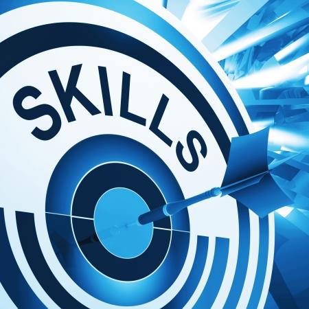 Foto de Skills Target Meaning Aptitude, Competence And Abilities - Imagen libre de derechos